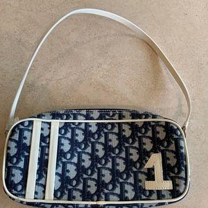 Christian Dior Monogram Canvas Shoulder Bag, Blue.
